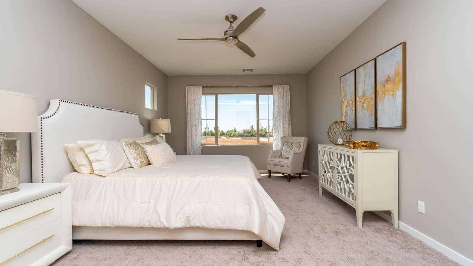 Bedroom of EastPoint model built by Porchlight Homes, a new home builder in Gilbert AZ